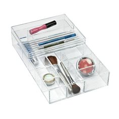 Keep clutter from taking over your valuable counter space our these multifunctional Large Stacking Acrylic Trays.  They can be stacked to hold cosmetics and jewelry in the bathroom or office supplies at your desk.