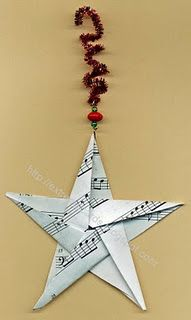 Sheet Music Origami Star DIY..cute gift idea? Christmas ornament for a music teacher or anyone who loves music! antique star with coffee? ditch the pipecleaner!
