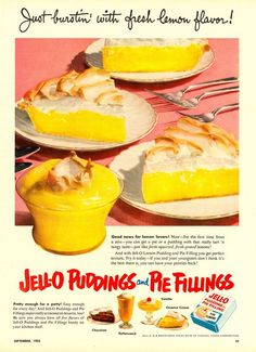 Jell-O Puddings and Pie Fillings ad, 1952. #vintage #1950s #food_ads