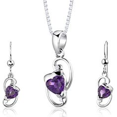Amethyst Pendant Earrings Set Sterling Silver Rhodium Nickel Finish Heart Shape 1.75 Carats -- Be sure to check out this awesome product.
