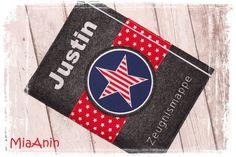 Buch-& Hefthülle - Zeugnismappe*Stars & Stripes* marine*rot*Filz* - ein Designerstück von MiaAnin bei DaWanda