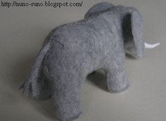 felt elephant inspired by the toy elephant on the bookshelf in Goodnight Moon