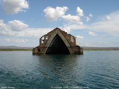 Submerged church - the town of Petrolândia was moved and the area intentionally flooded due to construction of a dam 1979 and 1988 - river of Sao Francisco, Petrolândia, Pernambuco, Brazil
