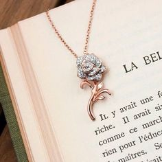 Feel like a princess with the Belle rose pendant, part of the Disney Enchanted Fine Jewelry Collection! Gems Jewelry, Pendant Jewelry, Disney Enchanted Jewelry, Best Jewellery Design, Disney Beauty And The Beast, Jewelry Armoire, Jewelry Stores, Jewelry Collection, Fashion Jewelry