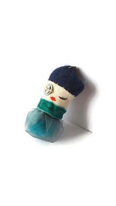 Steampunk blue gauzey creature pendant - fabric pendant -tiny creature -cute…