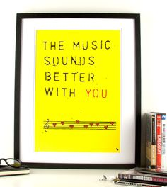 Yellow music quote love hearts typographic pop art poster by kyd13, $14.95