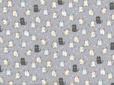 Mini Cats Double Gauze Grey