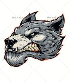 Head of a Fierce Werewolf - Animals Characters Dog Vector, Vector Art, Cute Tiger Cubs, Wolf Artwork, Art Beat, Purebred Dogs, Arte Horror, Wolf Tattoos, Pencil Art Drawings