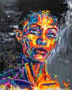 Graffiti Inspired Portrait Paintings by Rowan Newton