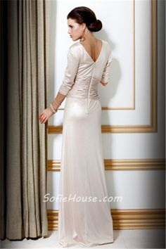 Rich Sequin Floor Length Luxury Ivory Evening Dress with Short