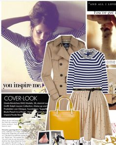 Neutral trench coat, stripes, pleated skirt, yellow bag