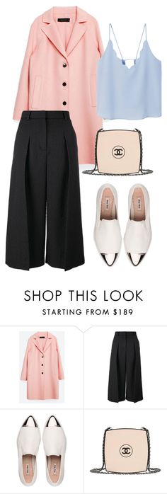 """""""PINK AND A BIT OF BLUE AND BLACK AND WHITE AND NUDE AND..."""" by brithany-andrade on Polyvore featuring Zara, Erdem, Miu Miu, Chanel and MANGO"""