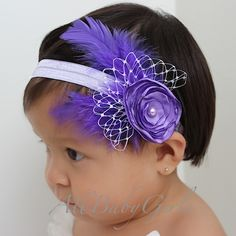 Baby Headbands | ... with Feathers Baby Headband for Newborn, Infant, Toddler and Girls