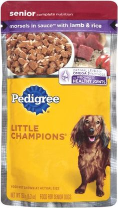 Best Dog Food : Highest rated dog food brands only at ♥  http://pet.pinptr.com/category/dog-supplies/dog-food-dry-dog-food-wet-dog-food/dog-food-brands-best-dog-food/  ♥ 4.6 out of 5 Stars 25 Customer Reviews. Please Repin. Pedigree Little Champions Healthy Maturity Morsels in Sauce with Lamb & Rice Food for Senior Dogs, 5.3-Ounce Pouches (Pack of 24)   Pet Supplies ♥  ♥ Reviews & Ratings ♥ ♥