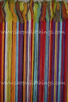 Our fabulous new rainbow mix string curtain includes the colors of the rainbow in an alternating pattern of: white, lime green, yellow, red, turquoise, orange and purple!Our string curtains have 18 s