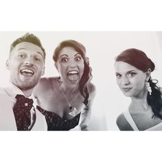 selfie with bride and groom and bridesmaid black and white wedding pic photo