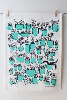 Potted Plants Tea Towel - Baba Souk