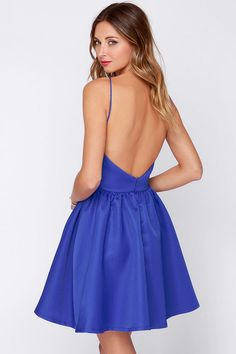 Azul atractivo apósito sin espalda vestido - Vestido skater - $ 47.00