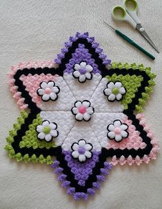 Chain Stitch Embroidery, Embroidery Stitches, Hand Embroidery, Embroidery Designs, Crochet Flower Patterns, Baby Knitting Patterns, Crochet Flowers, Creative Embroidery, Crochet World