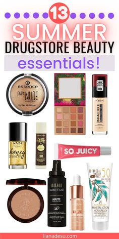 Get your perfect summer look with these drugstore beauty summer essentials! All of the must have drugstore makeup and skincare products you need this summer to create a bronzed, glowy, playful look that's perfect for summer! Plus tips on how to sweat-proof and heat-proof your makeup for the hot summer! #drugstore #makeup #skincare #beauty #summer Best Drugstore Makeup, Drugstore Makeup Dupes, Best Makeup Products, Beauty Products, Beauty Dupes, Hair Products, Makeup Cosmetics, Beauty Makeup, Skin Makeup