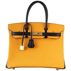 c962c92d25e4 View this item and discover similar tote bags for sale at - Guaranteed  authentic special order Horseshoe bi-color HERMES 30 Birkin in Jaune is  rich with ...
