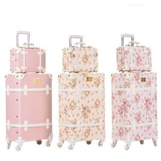 Vintage Look Spinner Luggage & Carry On Travel Bag Set styles) Item Type: Wheeled Trolley Luggage Set Luggage Sizes: = x 33 x (approx 22 x 13 x 8 inches) = 58 x 34 x (approx 23 x Luggage Sets Cute, Pink Luggage, Luggage Sizes, Vintage Luggage, Travel Luggage, Luggage Bags, Carry On Luggage Cute, Women's Suitcases, Travel Bags For Women