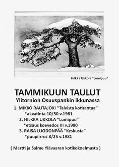 Mikko Rautajoen akvatintan ostin taitelijalta Kemistä v. 1983. Mikko Rautajoen töitä on paljon Kemin Taidemuseossa. Hilkka Ukkolan työn Lumipuun ostin taiteilijalta 1983. Hilkka Ukkola syntynyt Sodankylässä ja tekee taidetta nykyään Muoniossa. Hilkalla oli hieno taidenäyttely Rovanniemen Taidemuseossa, näyttelyn yhteydessä ilmestyi myös Taidekirja Hilkan töistä. Raisa Luodonpää tunnetaan nykyisin paremmin Mesilaaksona. Hän on ammattitaiteilija, joka elää ja työskentelee nykyisin… Yule, Martini, Vintage Photos, Retro Vintage, History, Outdoor, Xmas, Outdoors, Historia