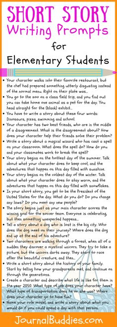Short Story Writing Prompts for Elementary Students Use these short story writing prompts to encourage your students to think creatively and to give them an opportunity to develop their own characters and plot lines. Picture Writing Prompts, Short Story Writing Prompts, Narrative Writing Prompts, Writing Prompts For Kids, Kids Writing, Teaching Writing, 3rd Grade Writing Prompts, Teaching Strategies, Sentence Writing
