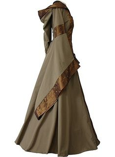Medieval Hooded Gown with trimmed bell sleeves