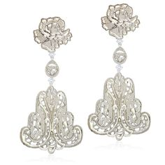 Silver Lace Filigree Chandelier Earrings