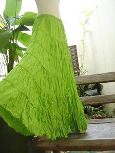 light green boho long tiered ruffle skirt
