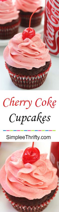 Chocolate Cherry Coke Cupcakes are on my list of favorite cupcakes! Perfect idea for a party treat. Simple and easy chocolate cupcake, filled with a cherry and topped with a delicious whipped frosting (Party Top Treats) Coke Cupcakes, Yummy Cupcakes, Chocolate Cupcakes, Cupcake Cakes, Cherry Cupcakes, Simple Cupcakes, Party Cupcakes, Chocolate Frosting, Birthday Cupcakes