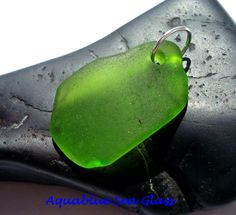 DRILLED Sea Glass   Lime Green Drilled Sea by aquablueseaglass, $10.99