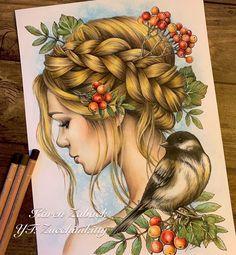 "Instagram의 Karen Zaback님: ""Book: Set of Art by Mariola Budek Colored with Luminance pencils and Distress Ink #mariolabudek #mariolabudekcoloringbook…"""