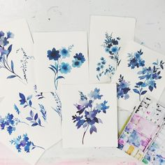 Finished shadow floral paintings from this morning, next step: scan them into…