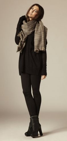 all saints sweater, leggings and heels