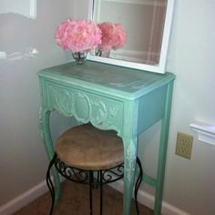 Makeup table for bathroom... different color and stool, but I like the thin table with a stool that can be stored under it.
