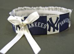 New York Yankees Wedding Garter with White Bow and by StylishBride, $14.95