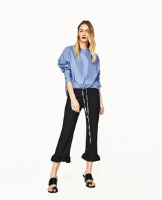 CROPPED TROUSERS WITH FRILL-View All-TROUSERS-WOMAN-SALE | ZARA United States