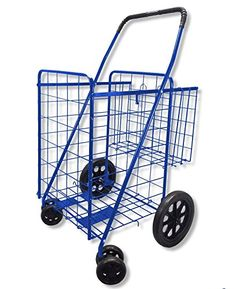 Wellmax Folding Shopping Cart with Double Basket and Swivel Wheels Blue