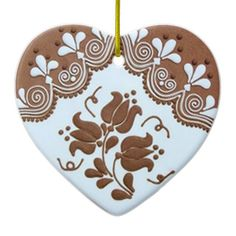 Shop OPUS Hungarian Gingerbread Heart TBA Ceramic Ornament created by roceskori. Cool Tattoos, Tatoos, Ornaments Design, Holiday Traditions, Needlepoint, Folk Art, Art Decor, Gingerbread, Arts And Crafts