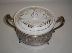 Royal Rochester / Syracuse China Casserole Dish w/ Lid & Silver-plated Stand #SyracuseChina