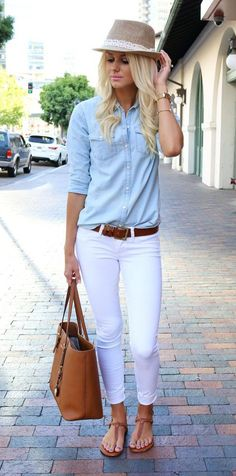 neutral shades outfit | blue top + white jeans