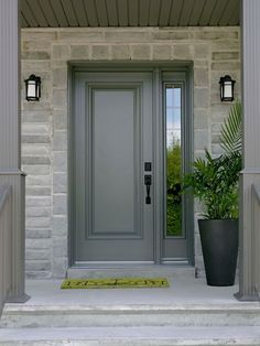 steel front door with one sidelight window entryway and front porch