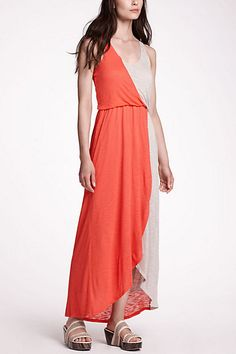 Half-Day Maxi Dress - Anthropologie  Love the coral and tan combination - Love maxi dresses for summer!