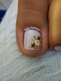 Pedicure Designs, Pedicure Nail Art, Toe Nail Designs, Toe Nail Art, Pretty Toes, Pretty Nails, Karma Nails, White Toenails, Cute Pedicures