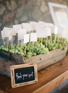 using grapes as anchors - escort cards - Photography By / http://mattedgeweddings.com,Design   Planning By / http://offthebeatenpathweddings.com