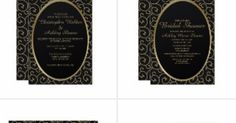 Elegant vintage black and gold wedding collection. This collection includes wedding invitations, bridal shower invitations, rsvp cards, matching envelopes, thank you envelope seal stickers, envelope belly bands, wedding reception invitations, wedding dinner rehearsal invitations, accommodations cards, reception table place cards, and personalized photo thank you cards.