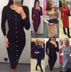 Round neck Long sleeve Single breasted knitted slim body women dress #Unbranded #Sheath #Casual