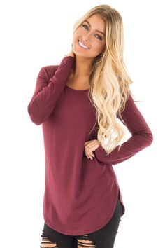 Burgundy Long Sleeve Round Neck Top front close up